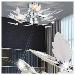 etc-shop Deckenleuchte, LED Deckenleuchte Deckenlampe Chrom Blätter Dekor 9 Watt Leuchte Lampe
