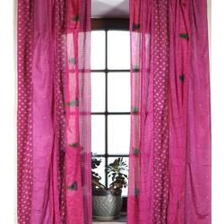 Vorhang Boho Patchwork Vorhänge (2 Stk) 1 Paar Bohemia.., Guru-Shop rosa