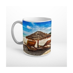 DesFoli Tasse Meer Strand Sonnenliege Sonnenschirm T1855, Keramik