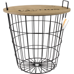 Dekokorb mit Holzdeckel Design Beistelltisch Fußhocker Sofatisch Drahtkorb 40x39 cm