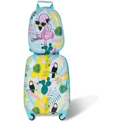COSTWAY Kinderkoffer 2tlg Kinderkoffer, mit Rucksack blau 22 cm x 44 cm x 30 cm