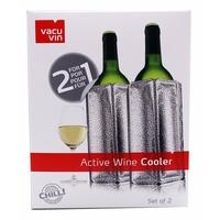 Vacu Vin VACUVIN Outdoor-Flaschenkühler 2x 38805626 Aktiv Kühler Motiv Platinum − Weinkühler für 0,75l Flaschen
