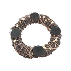 Adventskranz aus Naturgeflecht 40 cm Ø mit Kerzenhalter