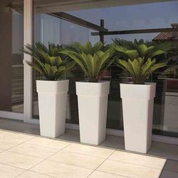 EURO3PLAST Pflanzkübel DUO QUADRO, Kunststoff weiß, 37x37x80cm, mit Pflanzeinsatz