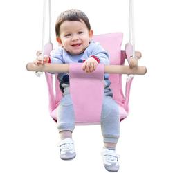 COSTWAY Babyschaukel Baby Schaukelsitz Kinderschaukel Türrahmen Schaukel rosa