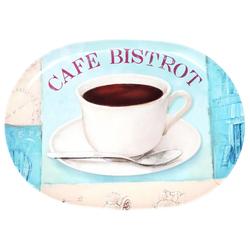 Lashuma Tablett Bistrot, Melamin, Ovales Serviertablett, Kaffeetablett Kunststoff 25 cm x 35 cm x 1.5 cm