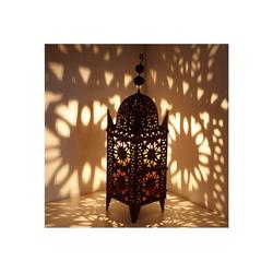 Casa Moro Laterne Marokkanische Eisen-Laterne Anwal H-90 cm x breite 25 cm edelrost-braun für draußen & Innen, hängend & stehend, Kunsthandwerk aus Marokko, L1664
