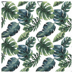Linoows Papierserviette 20 Servietten, Dschungelblätter, Tropen, Sommer,, Motiv Dschungelblätter, Tropen, Sommer, Urlaub