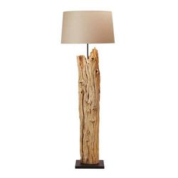Kiom Stehlampe Stehleuchte Tecate beige & Holz gebleicht 175 cm