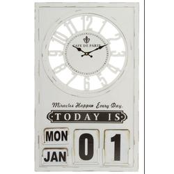 elbmöbel Wanduhr Wanduhr mit Datum (Wanduhr: Uhrzeit & Datum 42 x 70 x 6 cm weiß Vintage Paris)