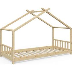 VitaliSpa Kinderbett Design Hausbett Kinder Bett Holz Haus 90x200cm  Natur