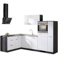 wiho Küchen Winkelküche Michigan L-Form E-Geräte 260 x 170 cm weiß / anthrazit