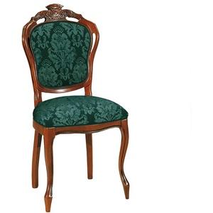 Barock Stuhl mit hoher Medaillon Lehne Nussbaumfarben & Grün