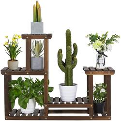 Yaheetech Blumenständer, Pflanzenregal Holz, Blumenregal mit 4 Ebenen, Garten, Pflanzentreppe mehrstöckig, für Indoor Balkon Wohzimmer Outdoor Dekor 95x25x73 cm