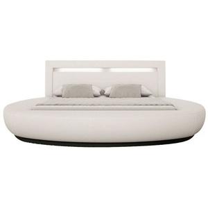 SalesFever Rundbett 200x200 cm LED weiß Kunstleder Holz, Kunstleder Weiß 315859