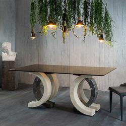 Designer Esstisch mit Glasplatte 180 cm breit