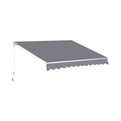® Markise 3m x 2,5m Gelenkarmmarkise Handkurbel Grau Alu - Outsunny