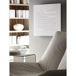 Wanduhr Qlocktwo weiß, Designer Biegert & Funk, 45x45x4.5 cm
