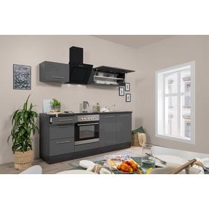 respekta Küchenzeile Küche Küchenblock Einbauküche Hochglanz 210cm Eiche grau