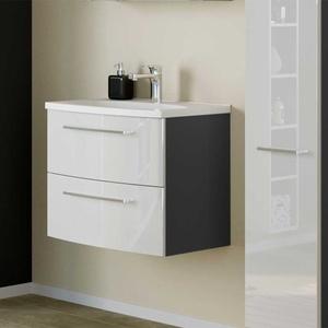 Waschbeckenunterschrank in Weiß Hochglanz und Dunkelgrau 60 cm breit