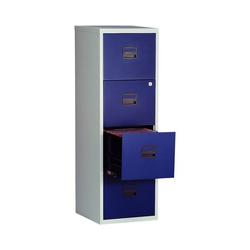 Bisley Home Hängeregisterschrank PFA aus Stahl, ohne Sockel, A4 blau 41.3 cm x 132.1 cm x 40 cm