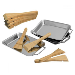 bremermann Pizzaschneider bremermann Grillpfanne 4er Set inkl. 8 Bambus-Scha, (Set, 4 tlg)