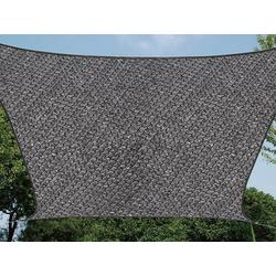 PEREL Sonnensegel, quadratisch 3,6 bis 5x5 m wasserdurchlässig für Terrasse Balkon & Garten, Sonnenschutz-Segel grau 500 cm x 500 cm
