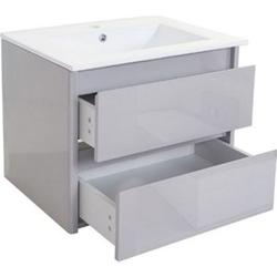 Waschbecken + Unterschrank MCW-B19, Waschbecken Waschtisch Badezimmer, hochglanz 50x60cm ~ grau