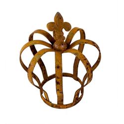 BigDean Dekoobjekt Metallkrone Lilie shabby Landhaus ca. 18 x 13,5 cm rost antik gartenkrone rostkrone