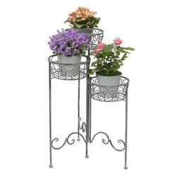 DanDiBo Blumenständer Blumentreppe Metall Rund 75 cm Blumenständer mit 3 Körbe 96012 Blumenständer Blumensäule Pflanzenständer