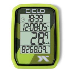 Ciclosport Fahrradcomputer Protos 105 Kabel Tacho ohne Tasten Fahrradtacho 4 Zeilen Display grün