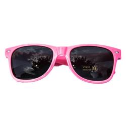 Nerdbrille Hornbrille 80s Retro Nerd Streber Sonnenbrille - rosa