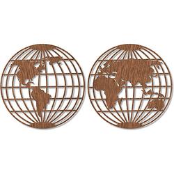 Holzkunst Mahagoni - Weltkarte - Globus (2-teilig), ø 37 cm