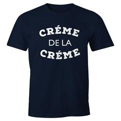 MoonWorks Print-Shirt Herren T-Shirt Creme de la Creme Fun-Shirt Moonworks® mit Print blau L