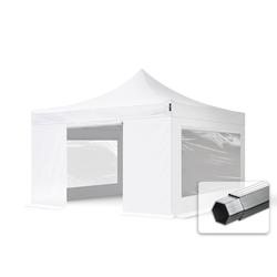 Toolport Faltpavillon 4x4m Long-Life PVC 620 g/m² weiß wasserdicht Faltzelt, Klappzelt