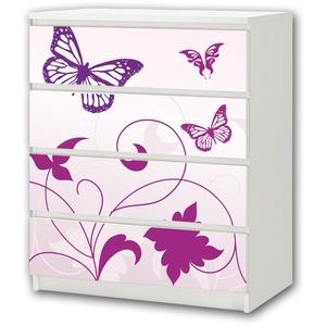 Stikkipix Butterfly Möbelsticker/Aufkleber - M4K04 - passend für die Kommode mit 4 Fächern/Schubladen MALM von IKEA - Bestehend aus 4 passgenauen Kinderzimmer Möbelfolien (Möbel Nicht inklusive)
