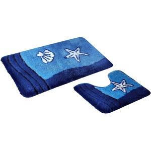 S&S-Shop Badematte Set   Blau   Sealife   mit Ausschnitt   2 teilig   rutschfest   WC-Vorleger 50 x 45 cm   Badvorleger 50 x 90 cm   Badteppich   Teppich   Bad   Badezimmer
