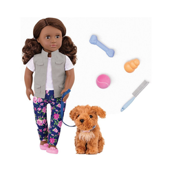 Our Generation Stehpuppe Puppe Malia 46 cm mit Hund
