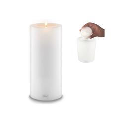 Qult Teelichthalter Qult Teelicht-Halter Trend 10cm Dauerkerze Kunststoff-Kerze Teelichtkerze in schwarz und weiss weiß 30 cm