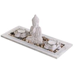 Levandeo® Teelichthalter mit Tablett, Deko Tablett Buddha Beton Lotusblüte Teelichthalter Kerzenhalter Tischdeko Holz