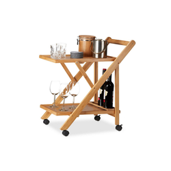 relaxdays Küchenwagen Küchenwagen Bambus mit 2 Ablagen