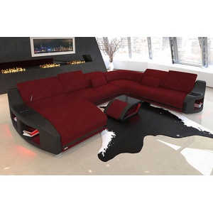 Couch Wohnlandschaft Stoffsofa SWING XXL Mikrofaser Rot Eck Sofa LED Ottomane