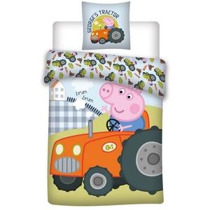 Kinderbettwäsche Peppa Wutz - George Traktor - Wende-Bettwäsche-Set, 135x200 & 80x80 cm, Peppa Pig, 100% Baumwolle