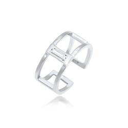 Elli Fingerring Offen Geo Swarovski® Kristall Rechteck 925 Silber, Kristall Ring silberfarben