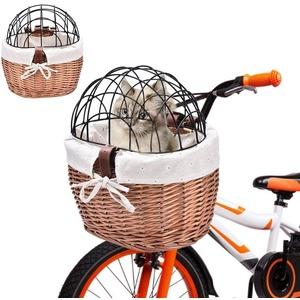 Seasaleshop Fahrrad Weidenkorb Vorne Lenkerkorb, Fahrrad Vorne Hund Fahrradkorb Lenker Wicker Fahrradkorb für kleine Haustiere, Katzen, Hunde