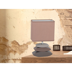 FISCHER & HONSEL LED Tischleuchte, kleine Nacht-Tischlampe mit Lampen-Schirm Stoff, Lampe Tisch Design Landhaus modern, Stofflampe Braun für Wohnzimmer Schlafzimmer & Fensterbank braun