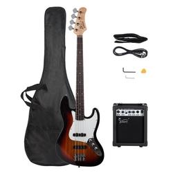 Glarry E-Bass GJazz, Elektrobass E Bass E-bass Bassgitarre Longscale 4 Saiter Tasche 20w VerstÄrker