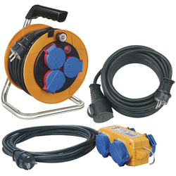 Power-Pack-Set IP44 / Kabeltrommel 10m, Verlängerungskabel 10m und 4-fach Verteiler 5m