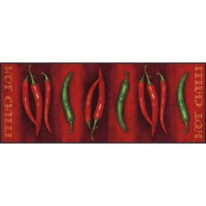 wash+dry Fußmatte Hot Chilli, 75x190 cm, innen und außen, waschbar, Rot