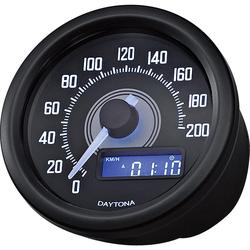Daytona Tacho Velona weiß 60 mm rund, bis 200 Km/h schwarz